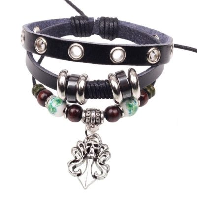 Handmade PU Leather Bracelet Black Tribal Skull Bohemian Vintage LB-002