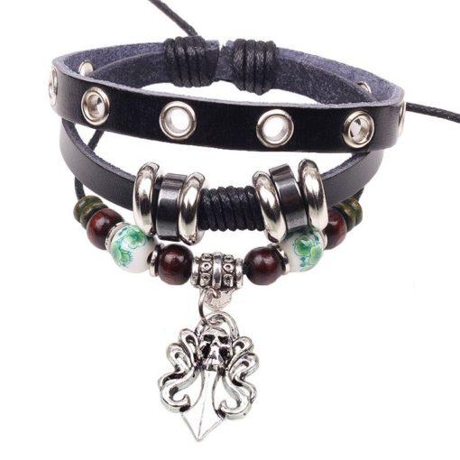 Handmade PU Leather Bracelet Black Tribal Skull Bohemian Vintage LB-002