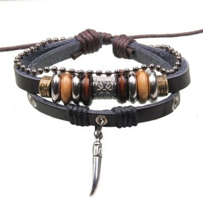 Handmade PU Leather Bracelet Black Tribal Tooth Beads Bohemian LB-011