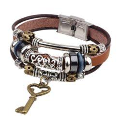 Handmade PU Leather Bracelet Brown Tribal Key Beads Bohemian LB-012