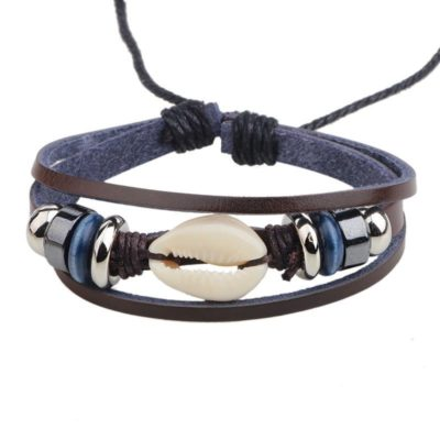 Handmade PU Leather Bracelet Black Tribal Shell Beads Bohemian LB-013
