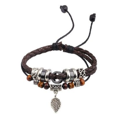 Handmade PU Leather Bracelet Black Brown Tribal Leaf Beads Bohemian LB-014