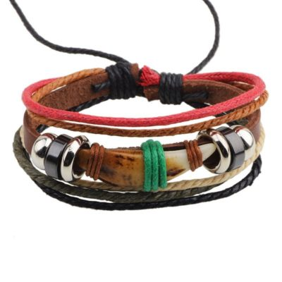 Handmade PU Leather Bracelet Brown Red Tribal Tooth Beads Bohemian LB-015