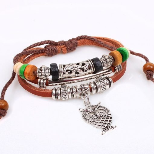 Handmade PU Leather Bracelet Brown Tribal Owl Beads Bohemian LB-017