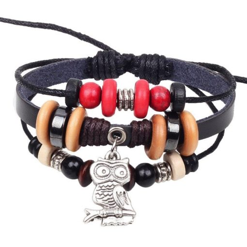 Handmade PU Leather Bracelet Black Red Tribal Owl Beads Bohemian LB-018