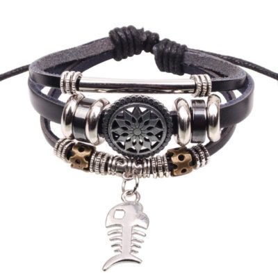 Handmade PU Leather Bracelet Black Tribal Fish Beads Bohemian LB-019