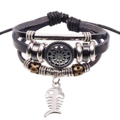 Handmade PU Leather Bracelet Black Tribal Fish Beads Bohemian LB-019