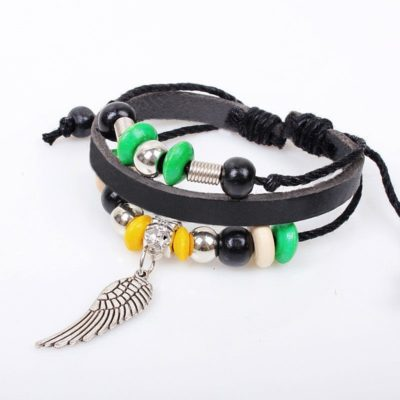 Handmade PU Leather Bracelet Black Green Tribal Wing Beads Bohemian LB-020
