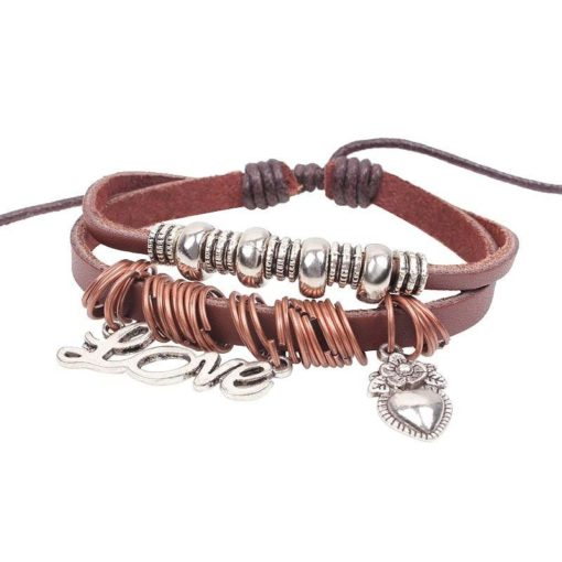 Handmade PU Leather Bracelet Brown Tribal Love Heart Beads Bohemian LB-021
