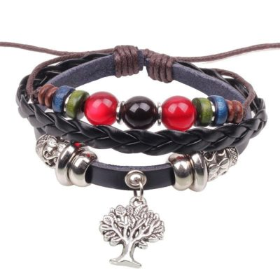 Handmade PU Leather Bracelet Colourful Tribal Tree Of Life Beads Bohemian LB-022