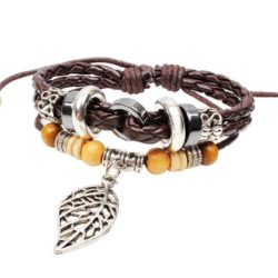 Handmade PU Leather Bracelet Brown Tribal Leaf Beads Bohemian LB-023