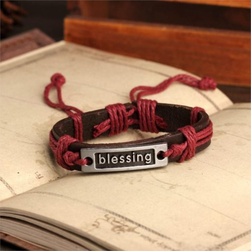 Handmade PU Leather Bracelet Blessing Tribal Bohemian LB-028