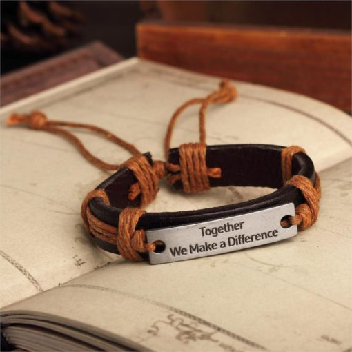 Handmade PU Leather Bracelet Together We Make Difference Tribal Bohemian LB-033