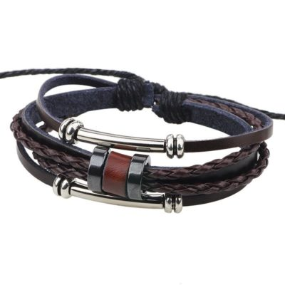 Handmade PU Leather Bracelet Brown Tribal Beads Bohemian LB-005