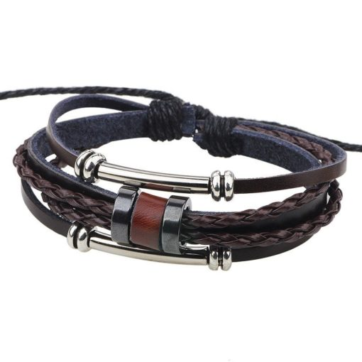 Handmade PU Leather Bracelet Brown Tribal Beads Bohemian LB-005