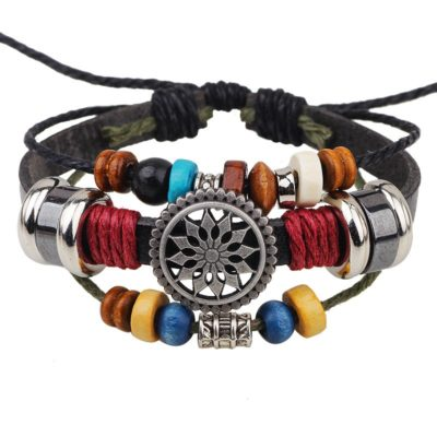 Handmade PU Leather Bracelet Colourful Tribal Star Flower LB-001