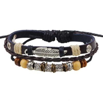 Handmade PU Leather Bracelet Black Tribal Beads Leaf Bohemian LB-006