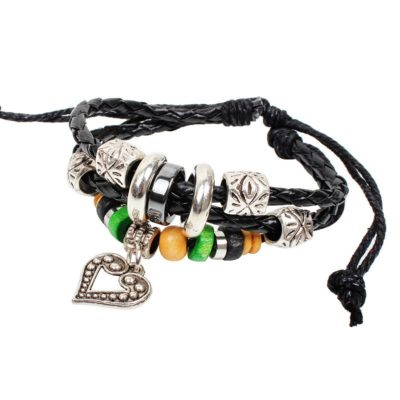 Handmade PU Leather Bracelet Black Tribal Beads Heart Bohemian LB-007
