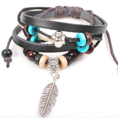 Handmade PU Leather Bracelet Black Tribal Beads Heart Bohemian LB-008