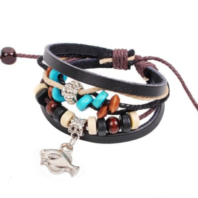 Handmade PU Leather Bracelet Black Tribal Fish Beads Bohemian LB-010