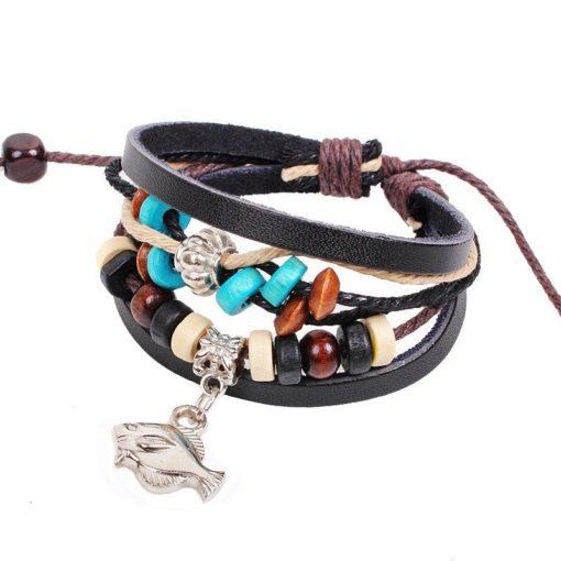 Handmade PU Leather Bracelet Black Tribal Fish Beads Bohemian LB-010