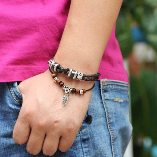 Handmade PU Leather Bracelet Black Brown Tribal Leaf Beads Bohemian LB-014
