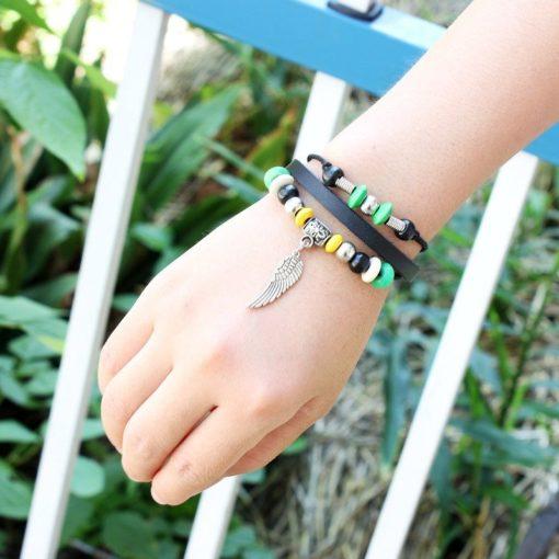 Handmade PU Leather Bracelet Black Green Tribal Wing Beads Bohemian LB-020