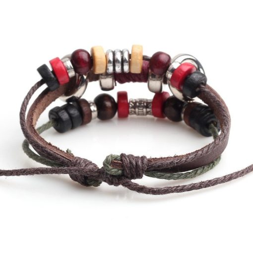 Handmade PU Leather Bracelet Colourful Tribal Red Beads Bohemian LB-003