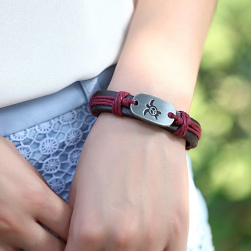 Handmade PU Leather Bracelet Turtle Harmony Tribal Bohemian LB-029