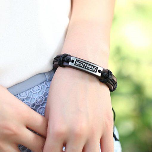 Handmade PU Leather Bracelet Best Friend Tribal Bohemian LB-030