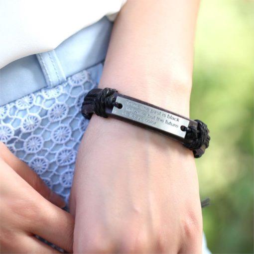 Handmade PU Leather Bracelet Past is Black & White Tribal LB-035