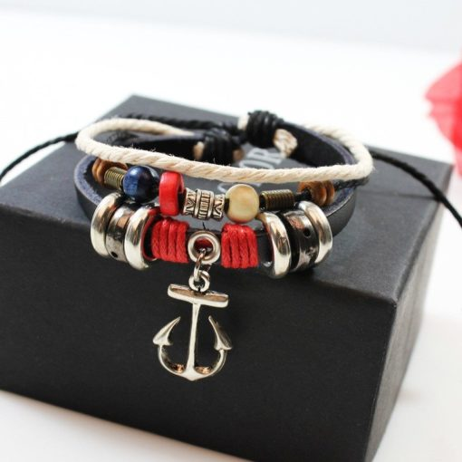 Handmade PU Leather Bracelet Colourful Tribal Red Beads Anchor LB-004