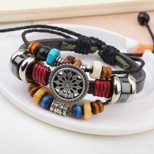 Handmade PU Leather Bracelet Colourful Tribal Star Flower LB-001
