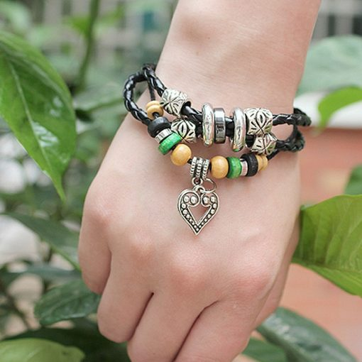 Handmade PU Leather Bracelet Black Tribal Beads Heart Bohemian LB-007