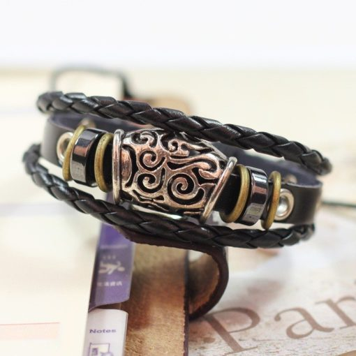 Handmade PU Leather Bracelet Black Tribal Beads Bohemian LB-009