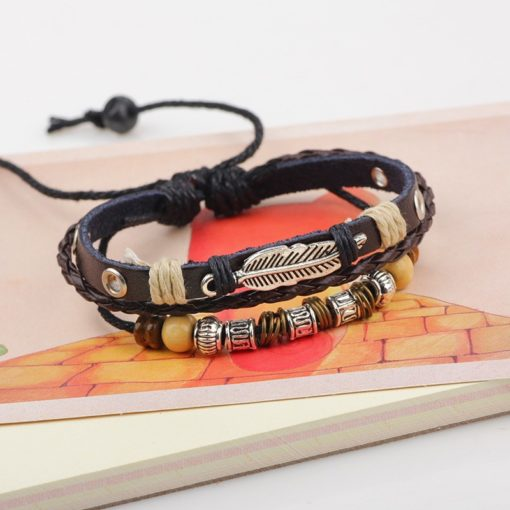 Handmade PU Leather Bracelet Black Tribal Beads Leaf Bohemian LB-006