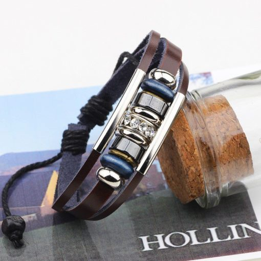Handmade PU Leather Bracelet Brown Tribal Blue Beads Bohemian LB-016