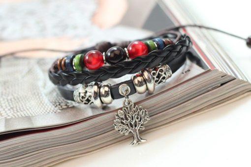 Handmade PU Leather Bracelet Colourful Tribal Tree Of Life Beads Bohemian LB-022