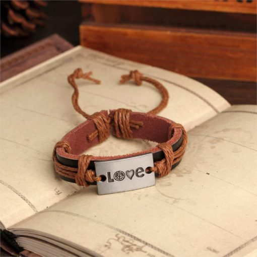 Handmade PU Leather Bracelet Heart Harmony Tribal Bohemian LB-031
