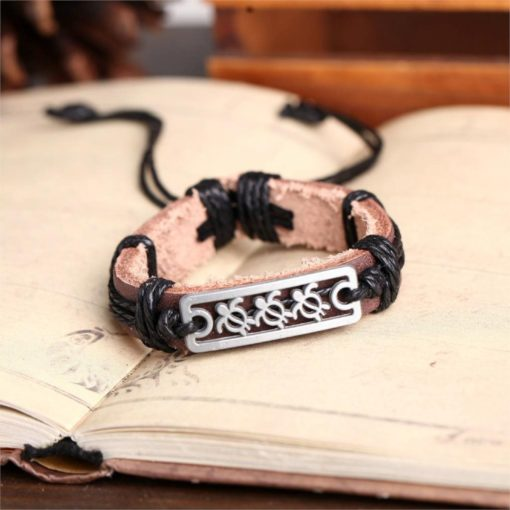 Handmade PU Leather Bracelet Turtle Tribal Bohemian LB-027