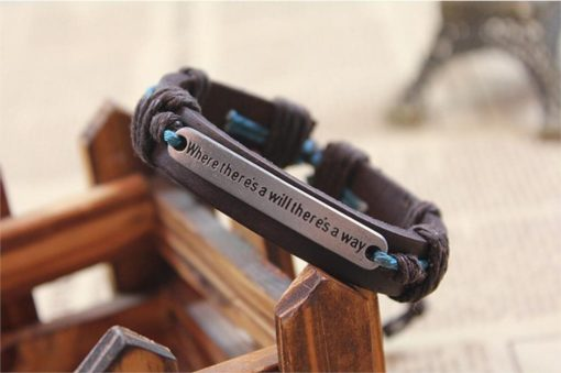 Handmade PU Leather Bracelet Where There's a Will There's a Way Tribal LB-034