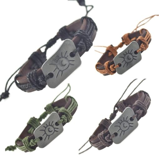Handmade PU Leather Bracelet Sun Tribal Bohemian LB-026