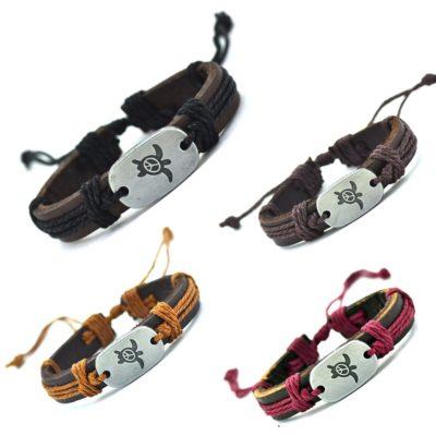 Handmade PU Leather Bracelet Turtle Harmony Tribal Bohemian LB-029