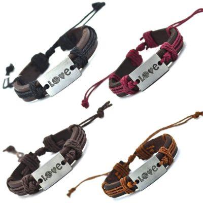 Handmade PU Leather Bracelet Heart Harmony Tribal Bohemian LB-031