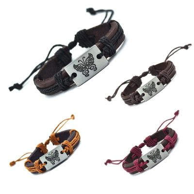 Handmade PU Leather Bracelet Butterfly Tribal Bohemian LB-024