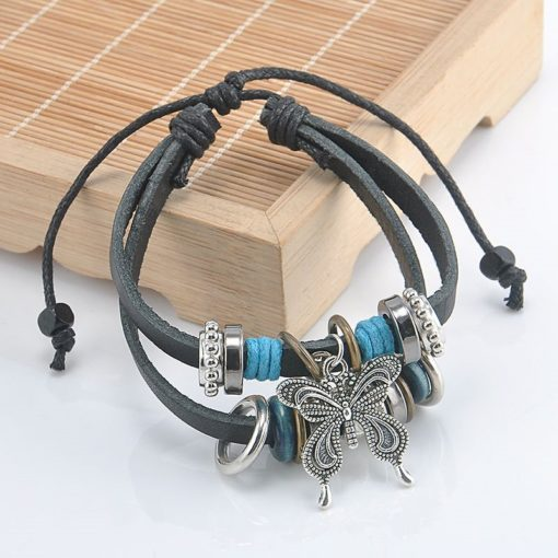 Handmade PU Leather Bracelet Black Buttefly Tribal Blue Beads Bohemian LB-036