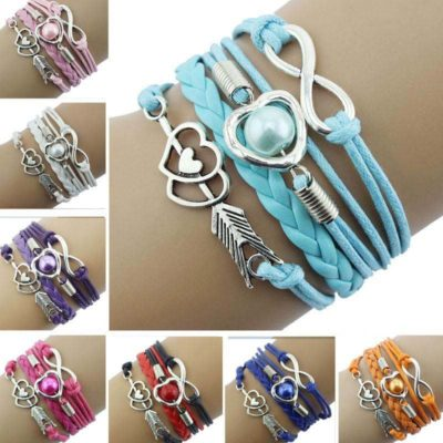 Leather Love Heart Arrow and Infinity Bracelet Red Pink Violet Blue Black Orange LB-ARW