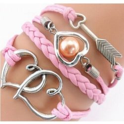 Pink Double Hearts & Arrow with Pinkish Pearl PU Leather Bracelet