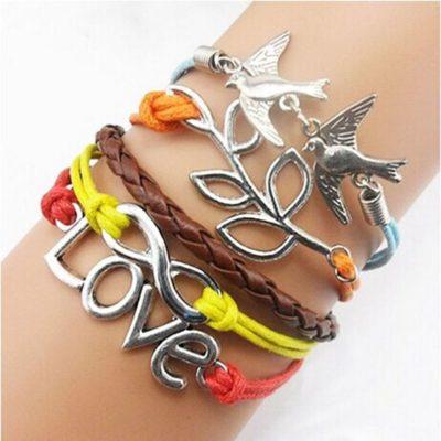Colourful Love Birds PU Leather Bracelet