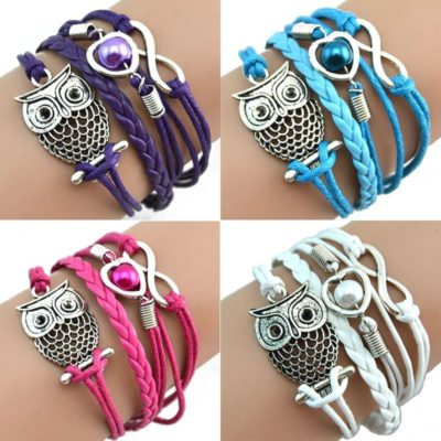 Owl Infinity Leather Bracelet